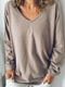 Grey Cotton-Blend Casual V Neck Shirts & Tops