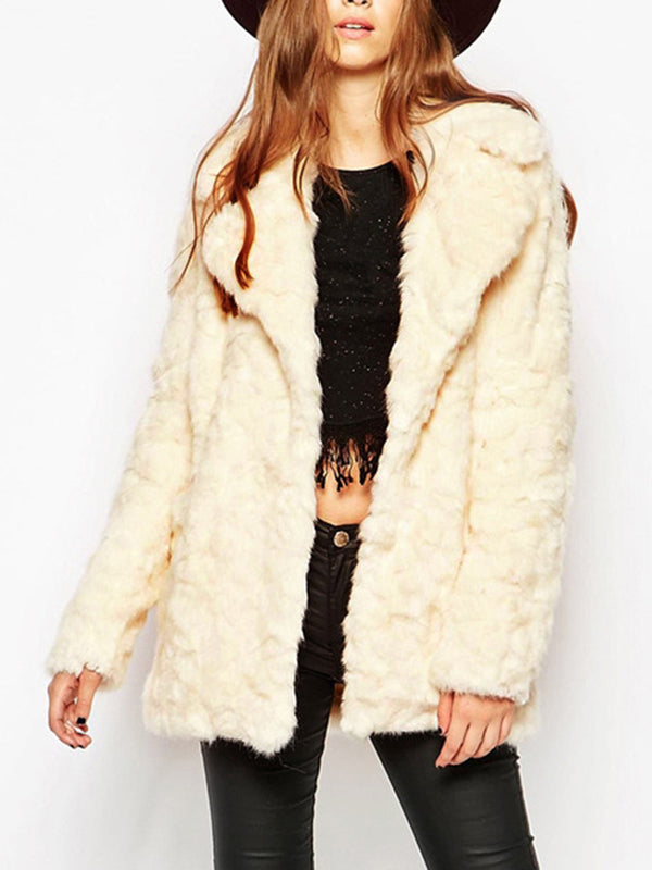 Lapel Collar Faux Fur Vintage Pockets Coat