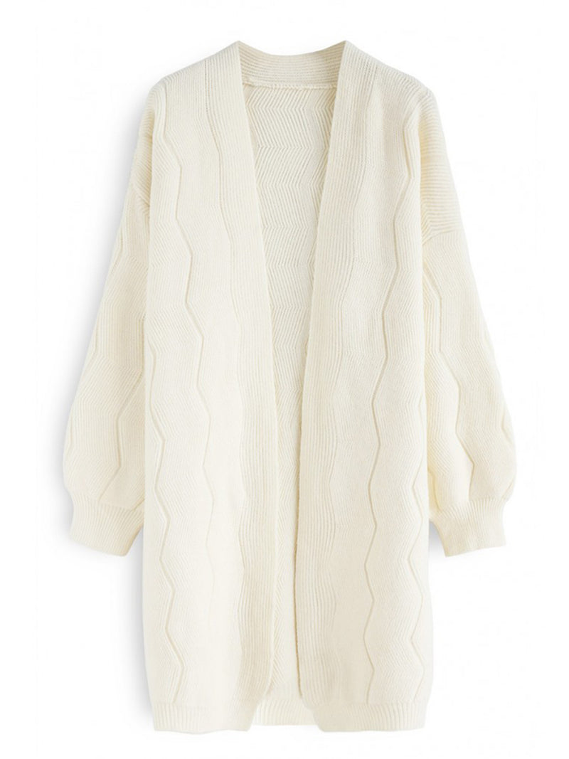 Wave Knitted Long Sleeve Cardigan Coat