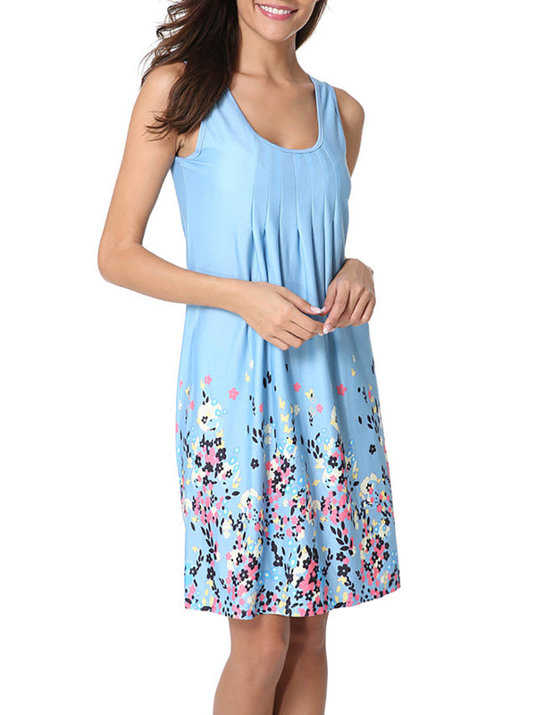 A-line Sleeveless Casual Print Dresses