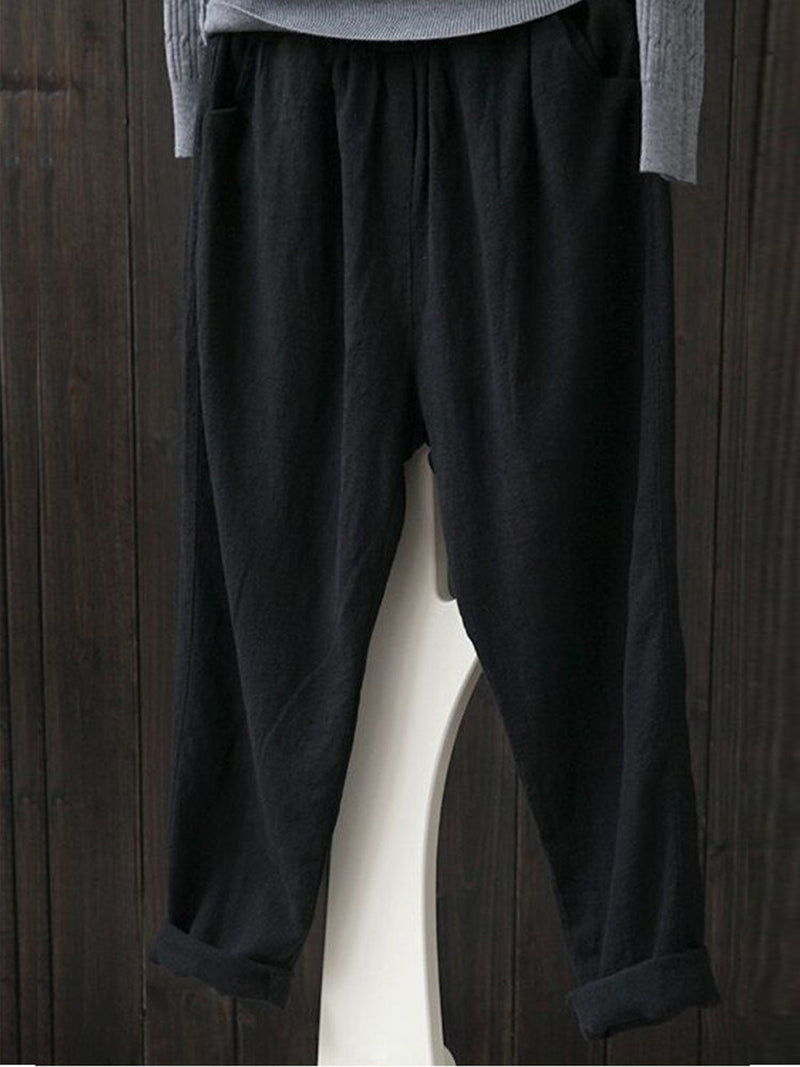 Simple & Basic Shirred Solid Pants