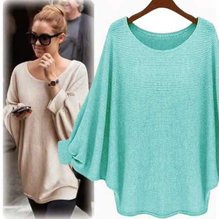Batwing Solid Crew Neck Knitted Plus Size Blouse