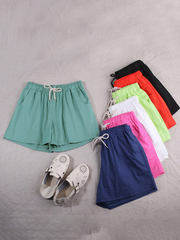Plus Size Women Solid Cotton Linen Shorts