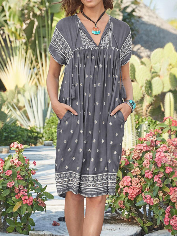 Holiday Tribal Printed V-neck Short Sleeve Pockets Dress