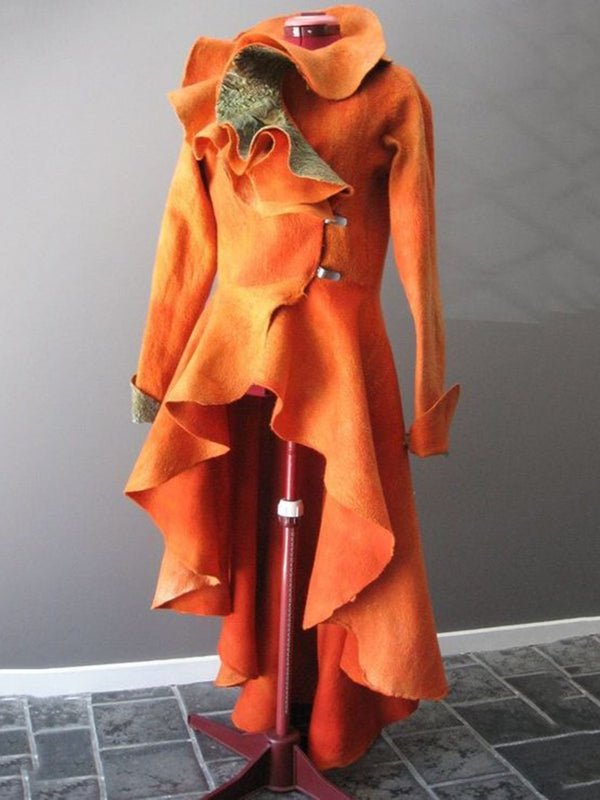 Orange Cotton-Blend Vintage Paneled Plain Outerwear