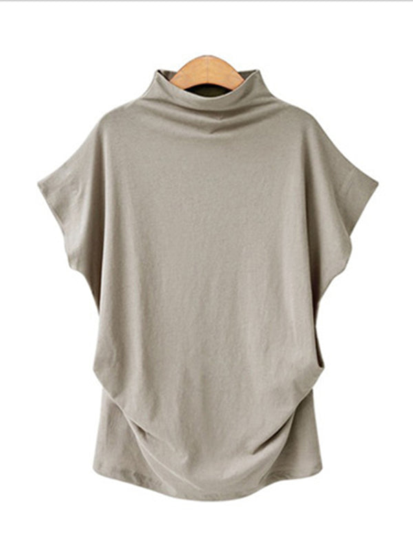 Summer Turtleneck Solid Short Sleeve Casual T-shirt