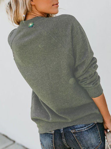 Solid Casual Long Sleeve Crew Neck Plus Size Sweatshirts