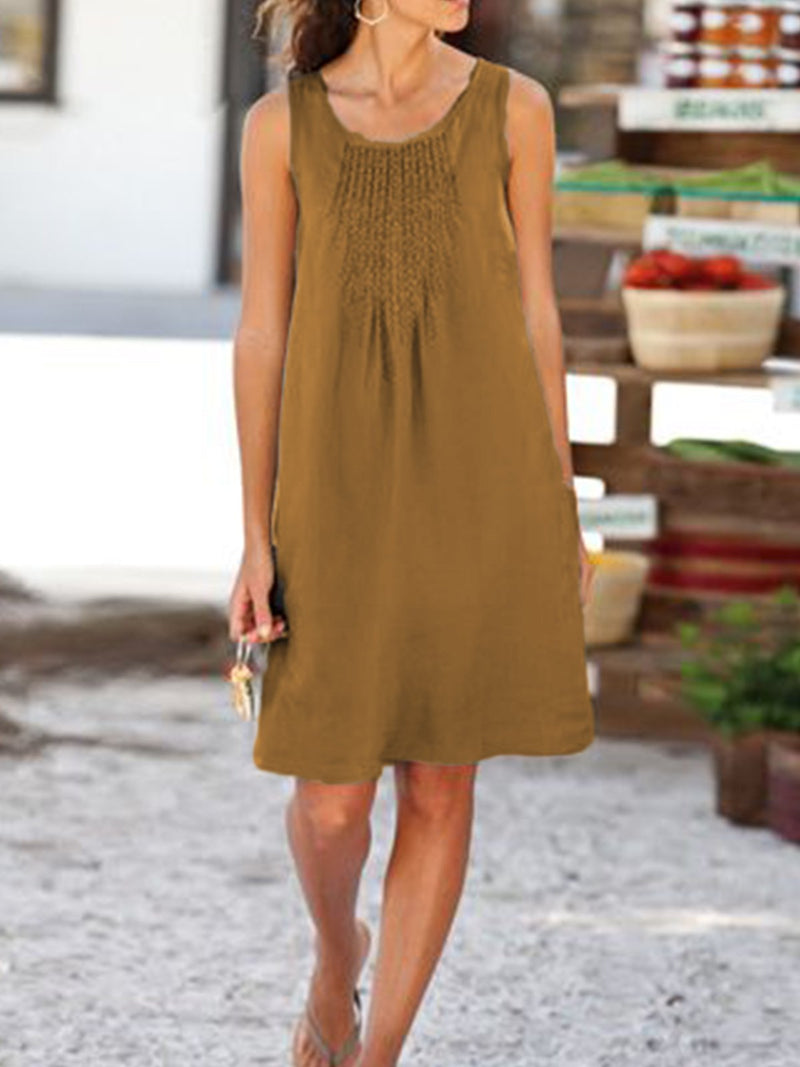 Casual Linen Sleeveless U-Neck Dress