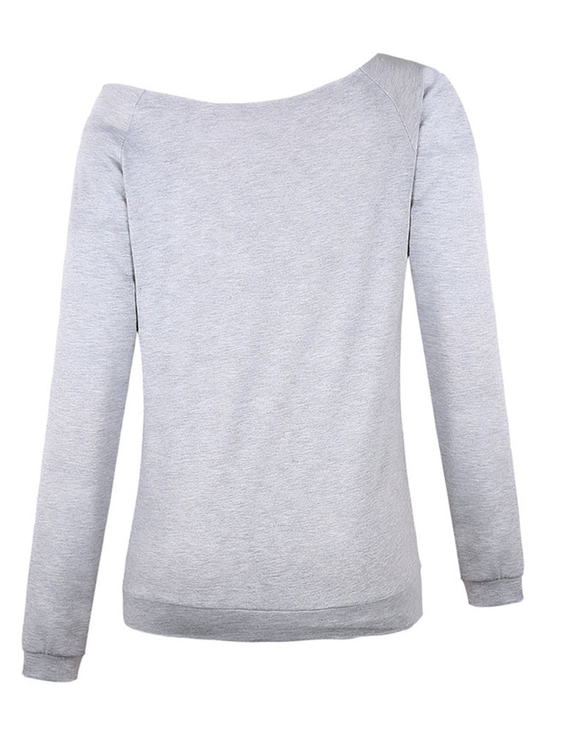 One Shoulder Letter Casual Sweatshirts