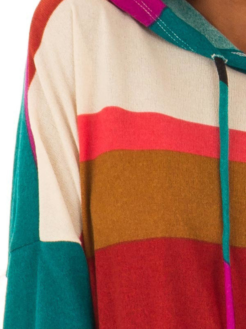 2018 Fashion Multicolor Stripes Drawstring Color-Block Pullover Hoodies