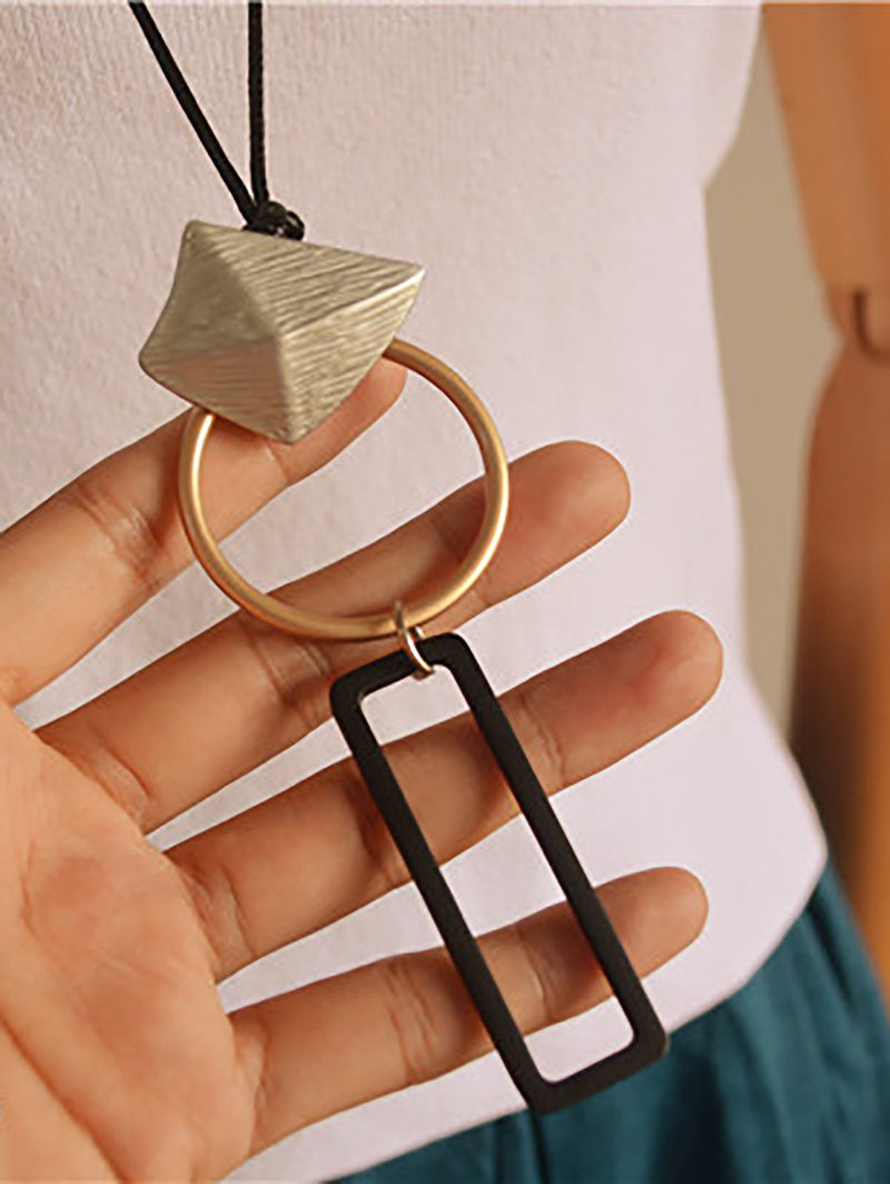 Alloy Geometric Wax Rope Long Necklace Women Accessory