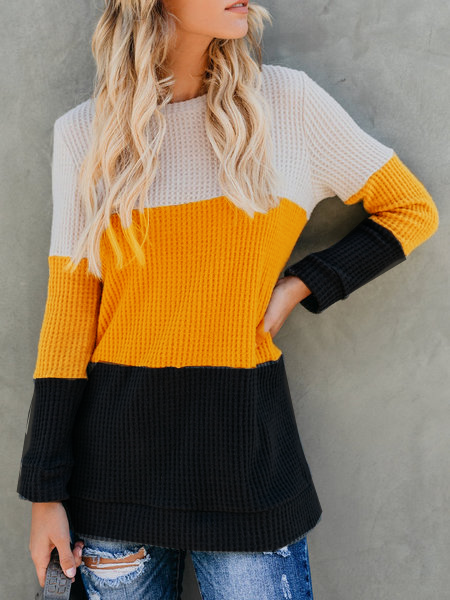 Casual Patchwork Round Neck Sweater