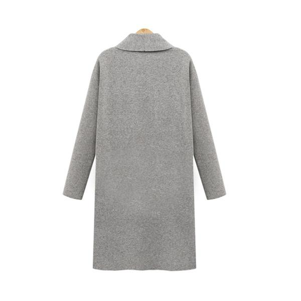 Solid Long Sleeve Plus Size Cotton-Blend Coat