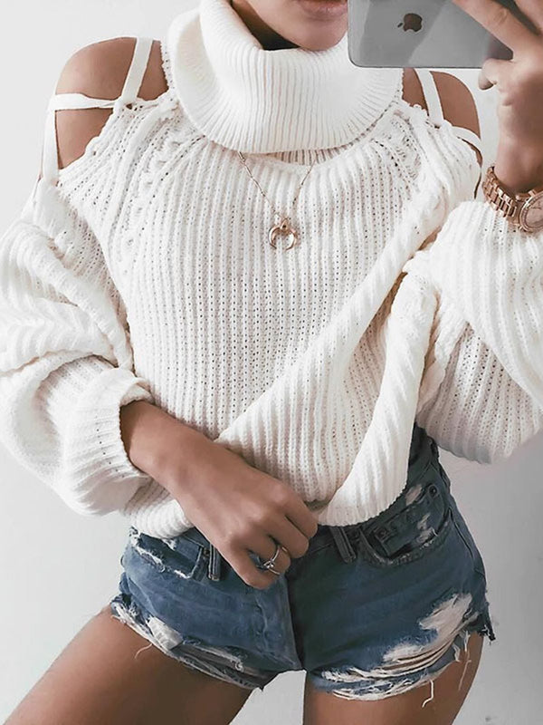White Turtleneck Solid Casual Sweater