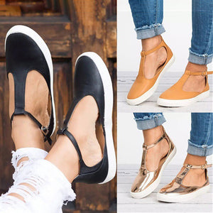 e19ac1b9c6a Women Casual Round Toe Comfy Adjustable Buckle Loafers
