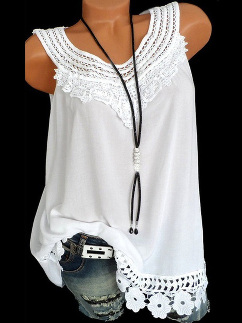 Casual Crew Neck Sleeveless Solid Tank