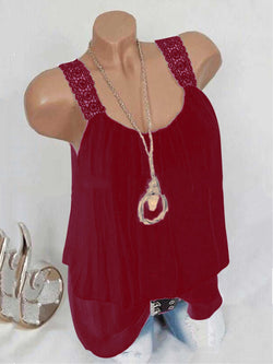 Plus Size Holiday Paneled Plain Spaghetti Vest