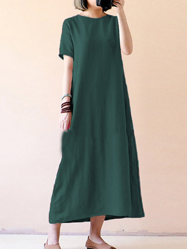 Casual Plus Size Pocket Maxi Dress