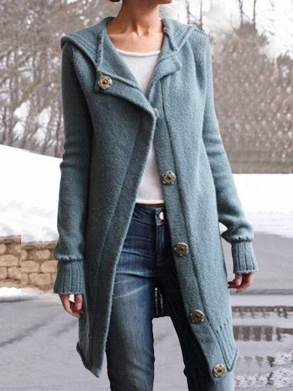 Women Buttoned Vintage Hoodie Sweater Coats