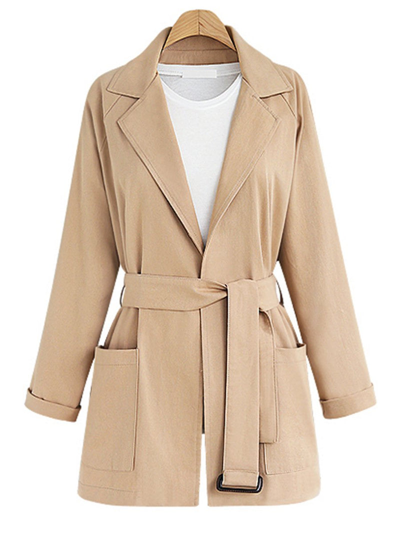 Paneled Cotton Elegant Solid Winter Trench Coat