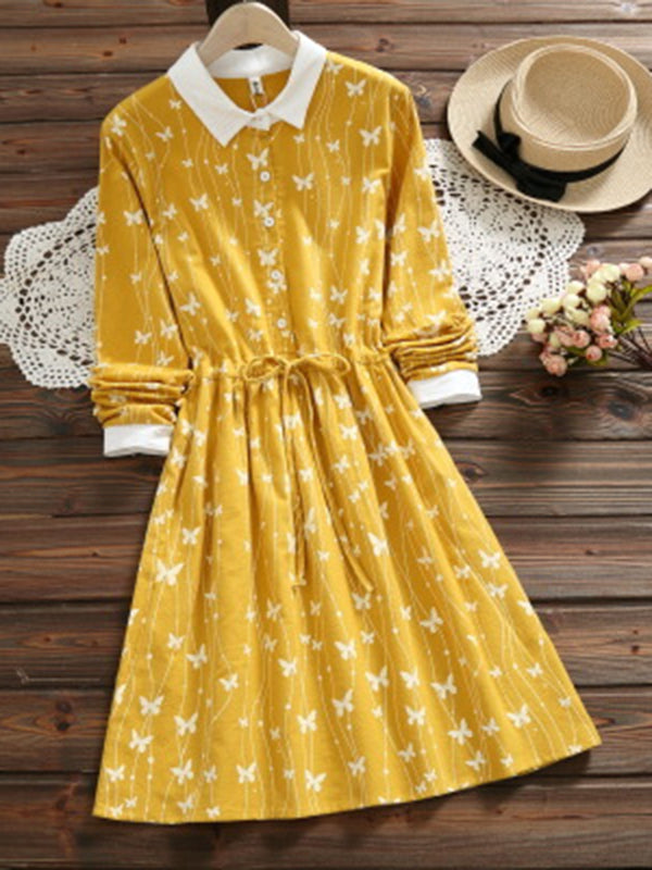 Yellow Butterfly Printed Floral Buttoned A-Line Long Sleeve Dress