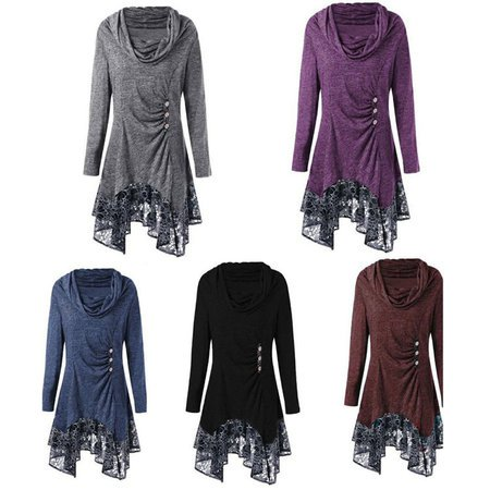 Fashion Womens Long Sleeve Loose Shirts High Collar Blouse Hoodies Irregular Dress Plus Size S-5XL