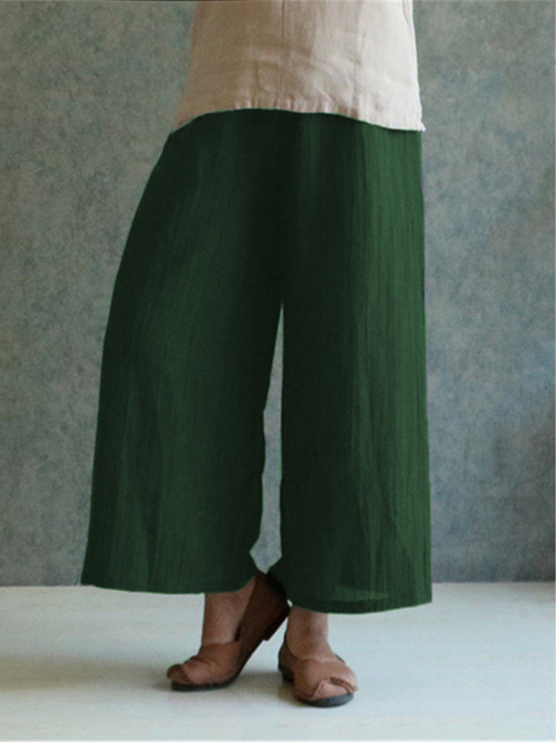 Plus Size Vintage Plain Linen Pants