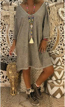 Casual 3/4 Sleeve Plus Size Midi Dress