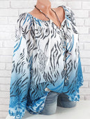 Plus Size Floral Printed V-neck Loose Shirts & Blouses