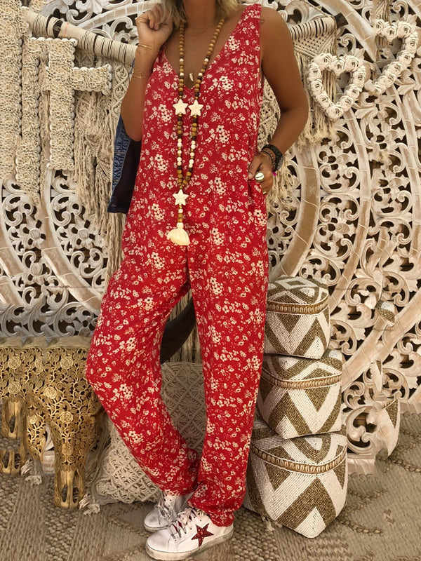 Pockets Floral Sleeveless Boho V Neck Summer Jumpsuits