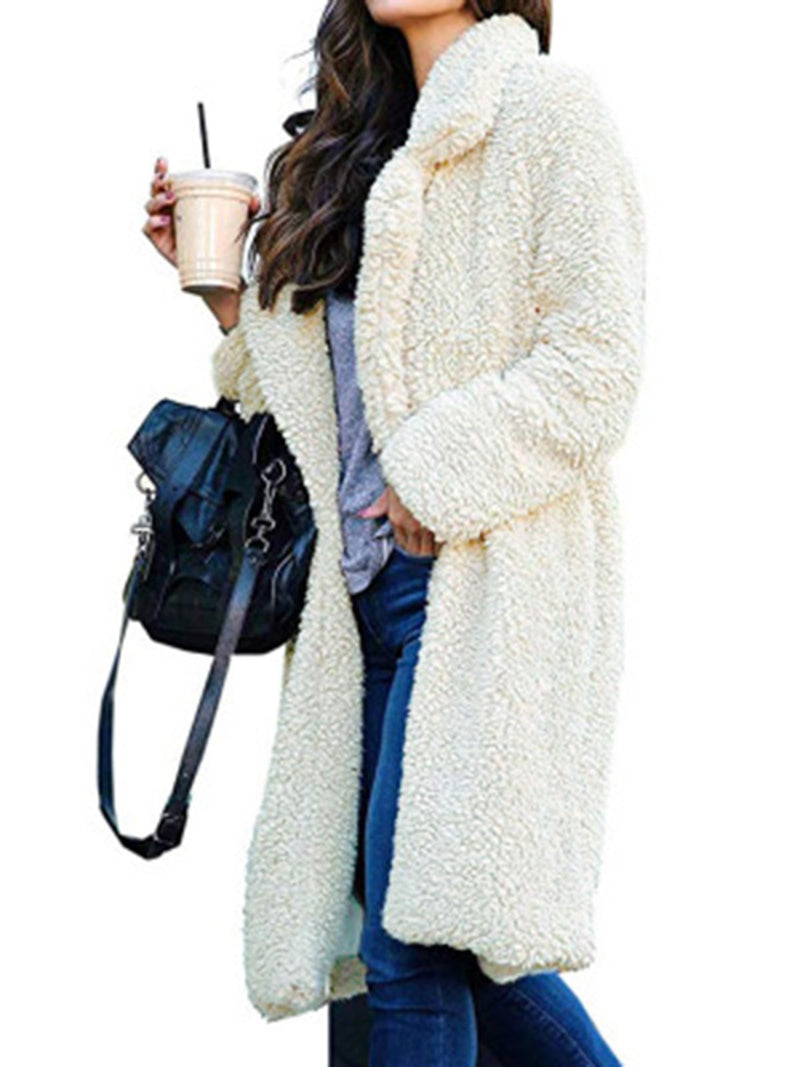 Plus Size Casual Solid Long Sleeve Fluffy Coat