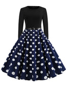 Vintage Polka Dots Swing Midi Dress