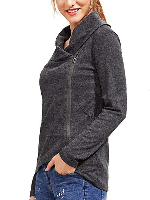 Gray Casual Plain Turtleneck Zipper Long Sleeve Hoodie