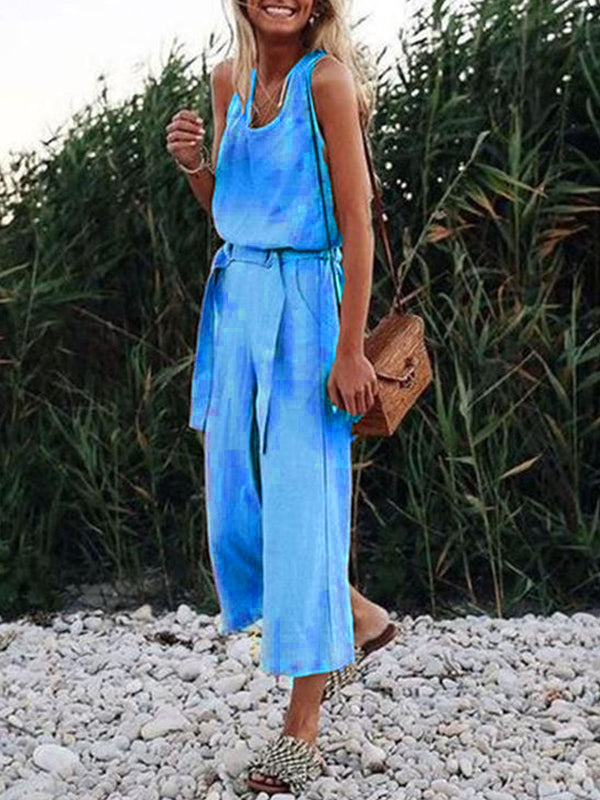 Sleeveless V Neck Casual Straps Jumpsuits