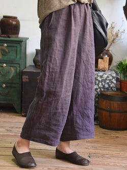 Plus Size Casual Pockets Plain Pants
