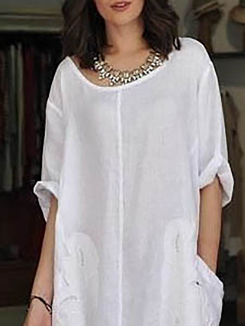 Women Crew Neck Short Sleeve Solid Paneled Slit Shift Maxi Casual Dress