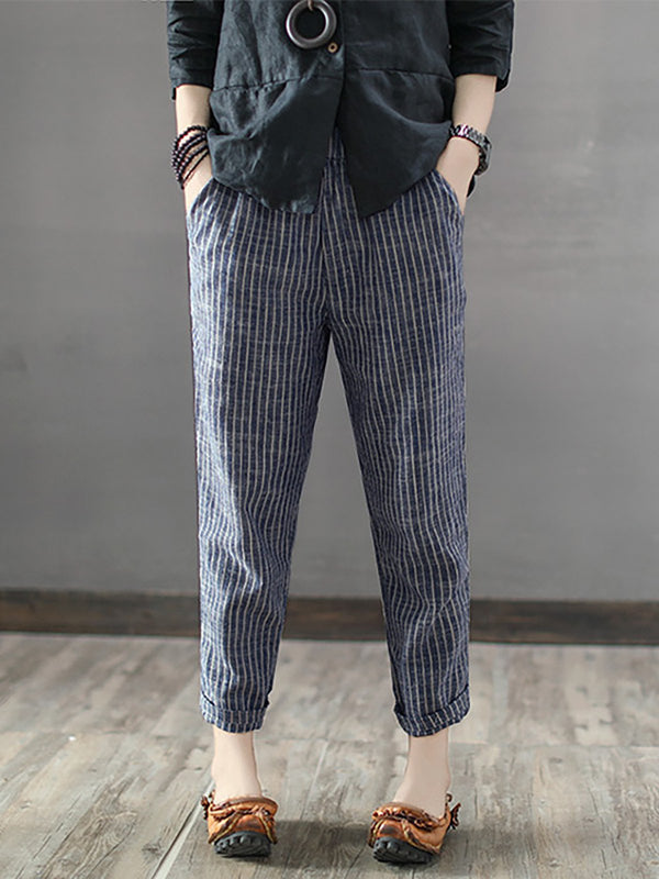 Casual Striped Polyester Pants
