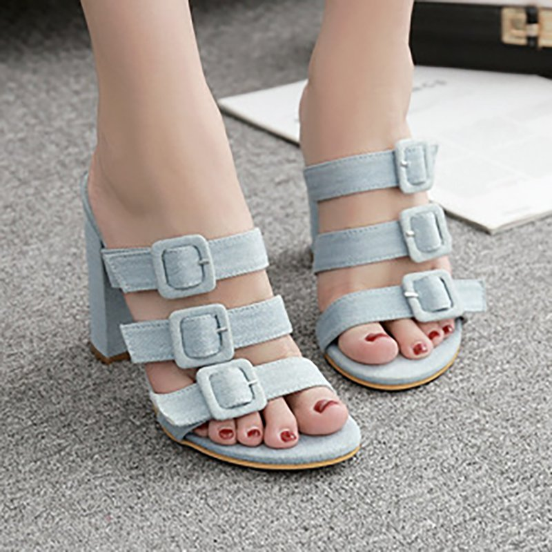 Denim PU Chunky Heel Pumps Peep Toe Slip On Shoes