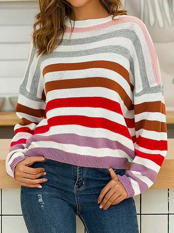 Cololful Striped Knitted Long Sleeve Sweaters