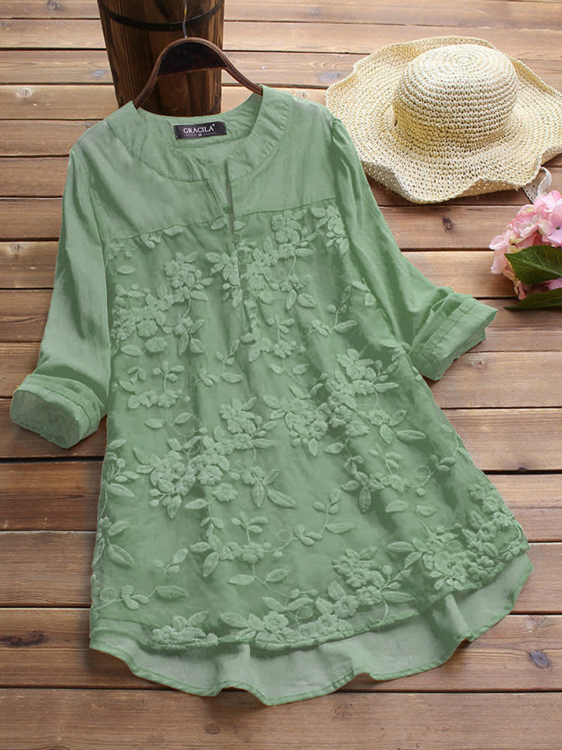 Long Sleeve Cotton V Neck Vintage Blouse