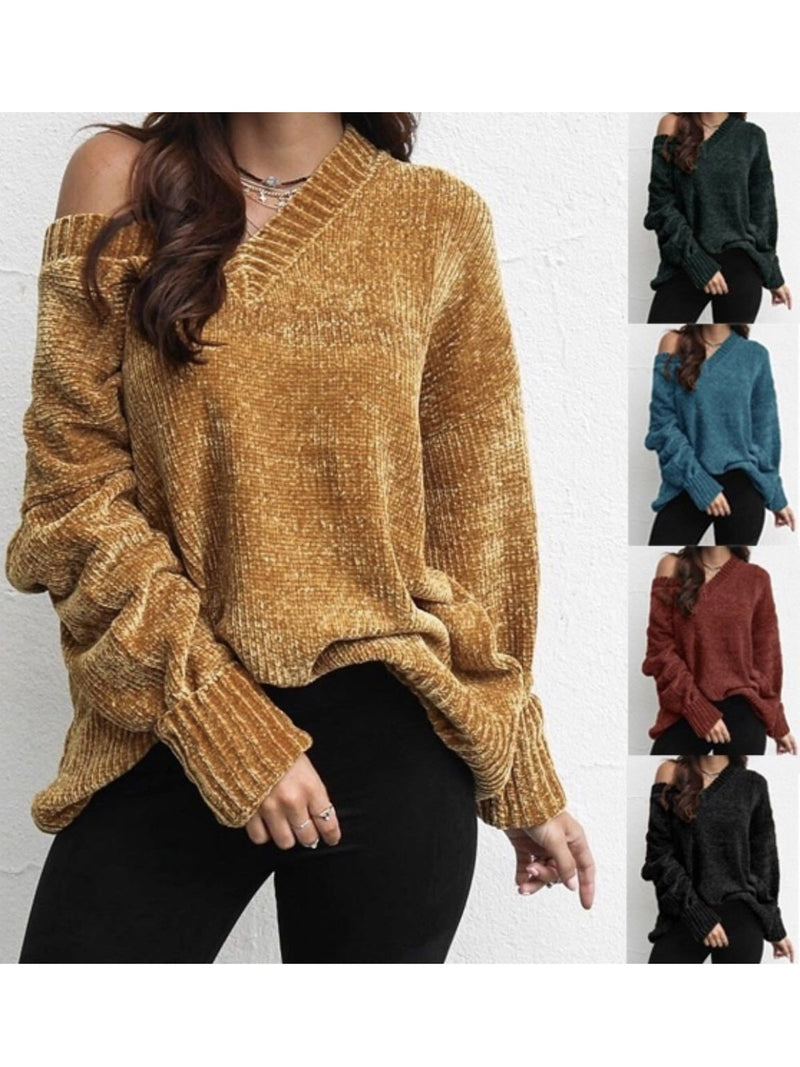 Vintage Long Sleeve V Neck Sweaters