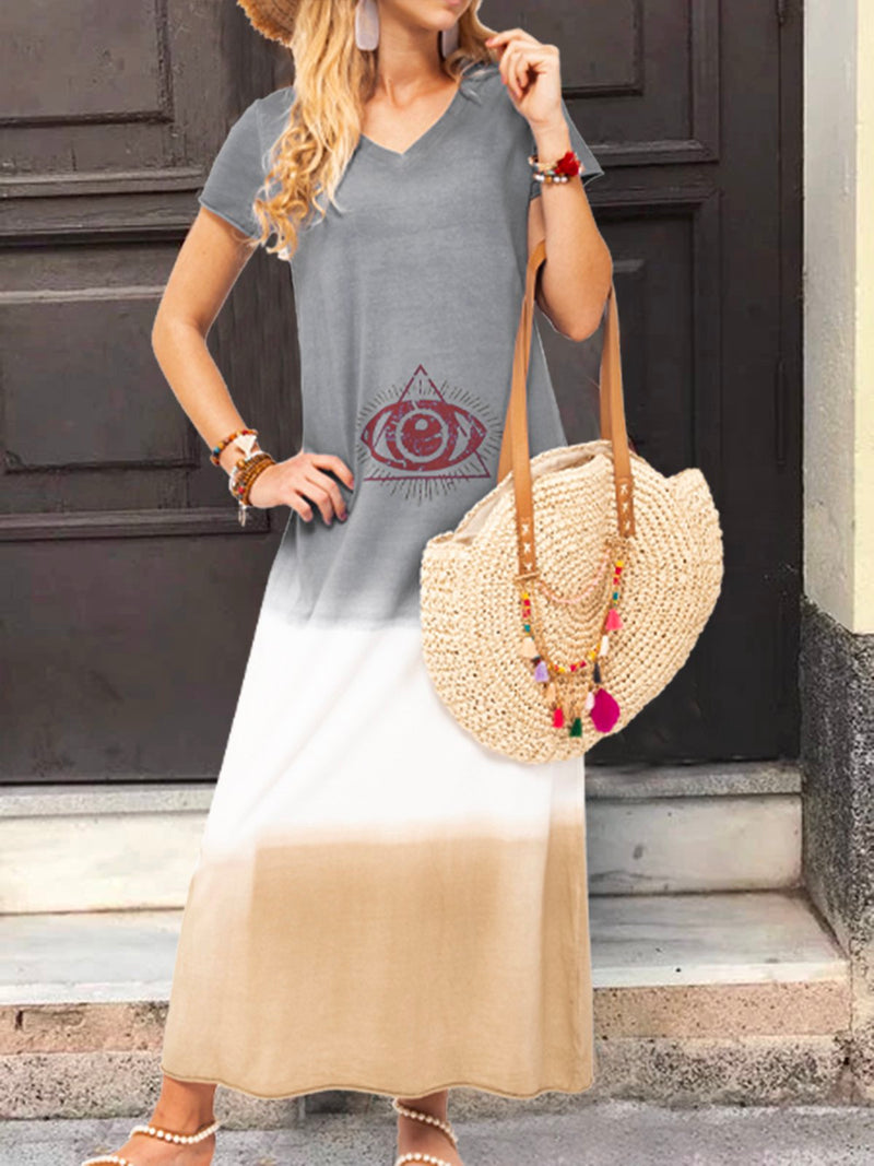 V Neck Casual Short Sleeve Dresses