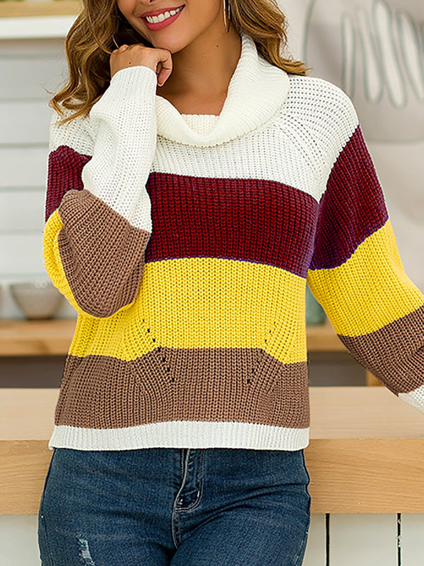 Striped Turtleneck Long Sleeve Knitted Sweaters