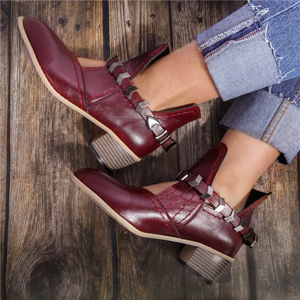 Low Heel PU Cutout Ankle Boots Vintage Adjustable Buckle Booties