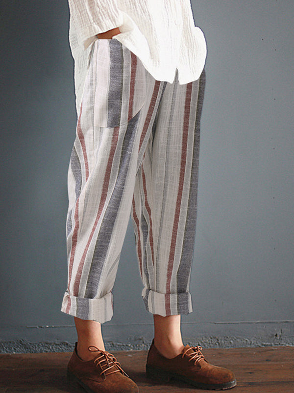 Striped Cotton Pockets Pants