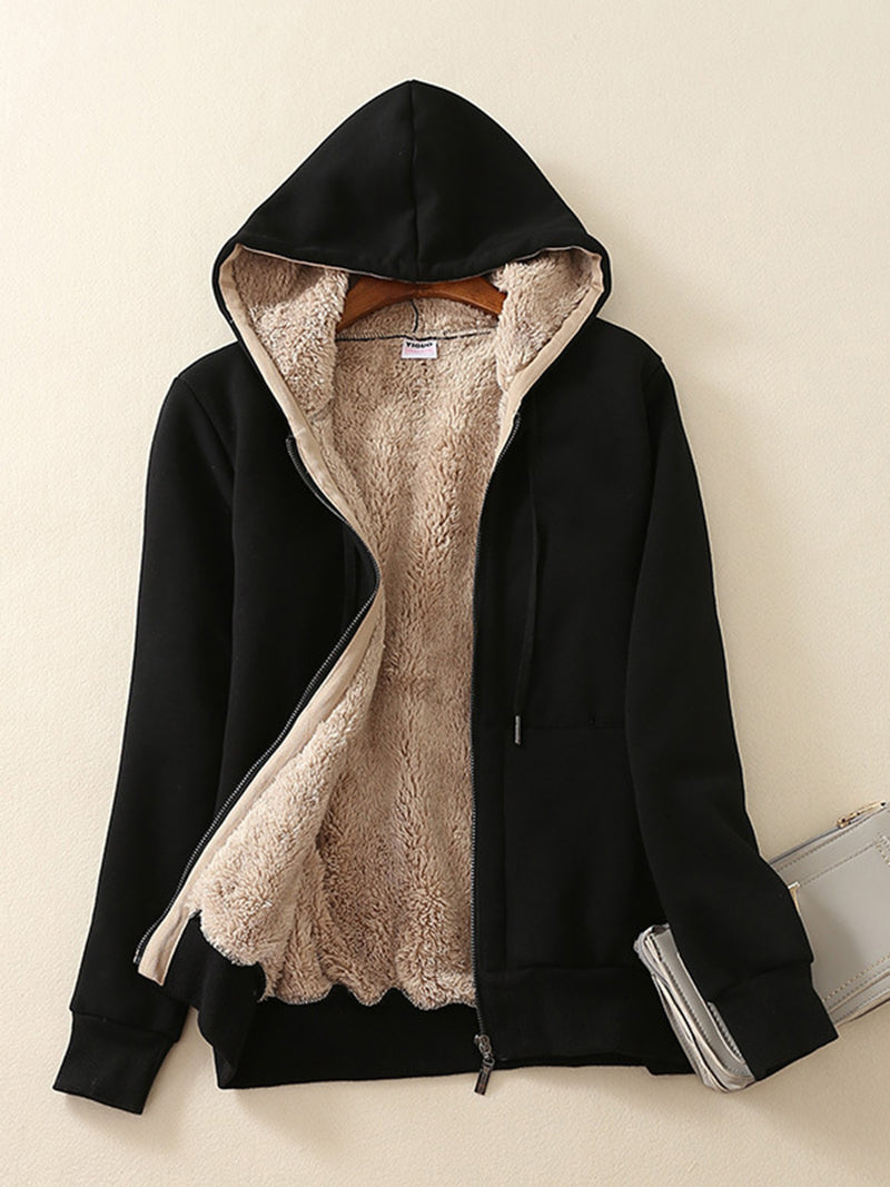 Long Sleeve Zipper Casual Hoodie Women Warm Coat