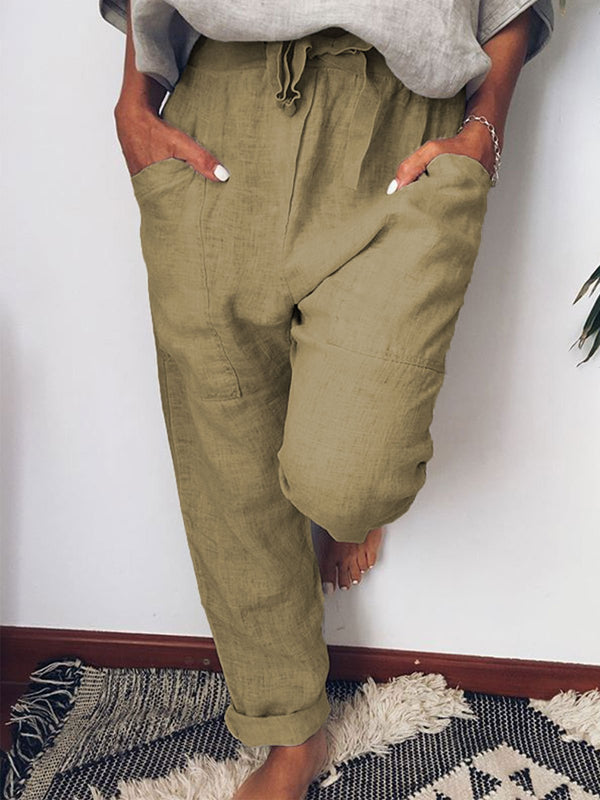 5 Colors Solid Pocket Linen Pants for Women