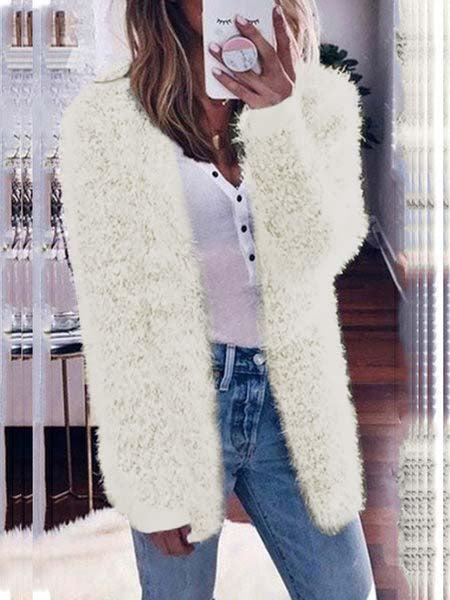 Plush Solid Color Knitted Coat