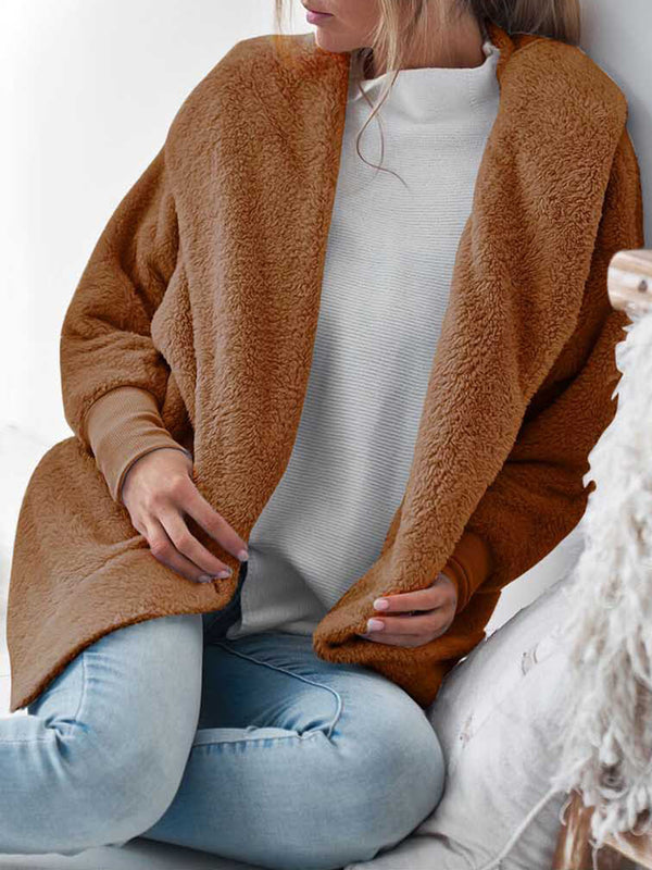 Fluffy Shawl Collar Hoodie Coat