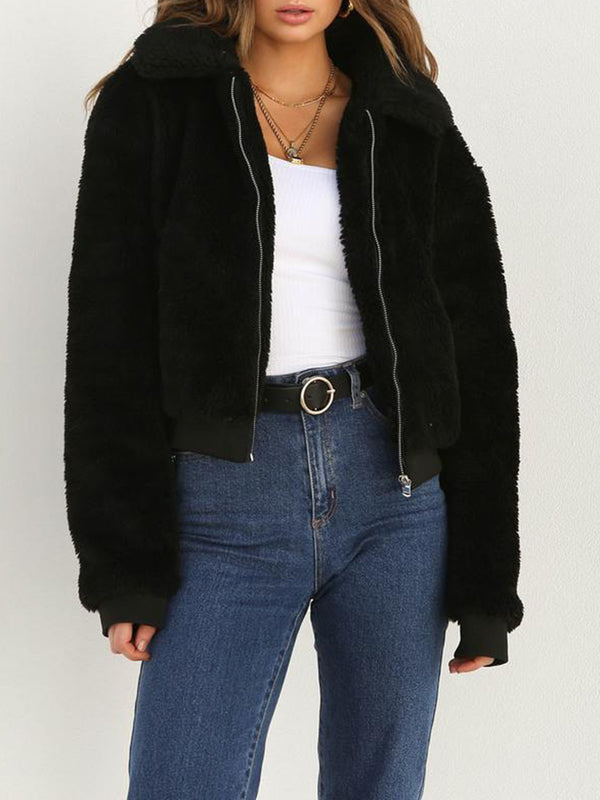 Fluffy Lapel Collar Zipper Warm Coat